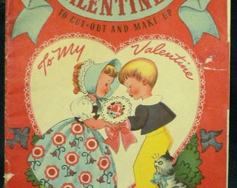 Valentine's and Envelopes, Vintage 1947, Cut-outs, Collectible, Ephemera, Scrap Booking, Card Makinjg