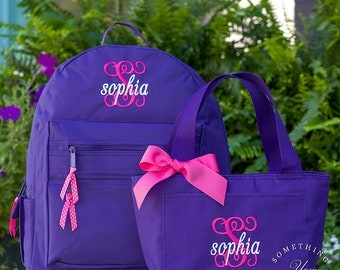 Initial and Name Monogrammed BACKPACK and LUNCHBOX, Personalized Solid Color School Girls Back Pack, Kids Book Bag, childrens, set of 2