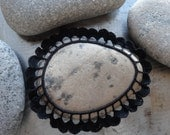 Crocheted Lace Stone, Black,Spotted Stone, Handmade, Original, Table Decoration, Gift, Monicaj