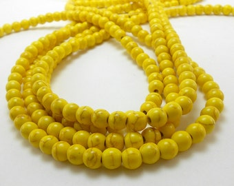 70 Yellow Howlite Beads 6MM howlite bead (H7059)