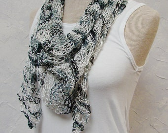 Scarf Lightweight Black White Shawlette or Scarf Hand knit from Soft Black and White Smooth Soft Yarn Scarf