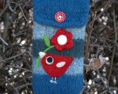 Blue wool pouch bag purse cellphone cozy needle felted red birdie bird and flower