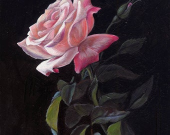 Original Painting by Cate Rangel - Pink Rose 5x7