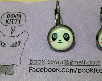 SALE** Panda Gunmetal tone Leverback Dangle Earrings