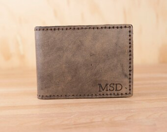 Personalized Leather Wallet - Monogram Mens Bifold Wallet in Antique Black - Third Anniversary Gift