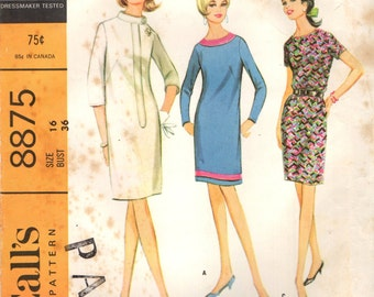 McCall's 8875 Shift Dresses French Darts, Back Vent Bust 36 VINTAGE 1960s ©1967
