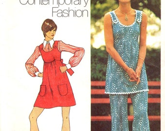 Simplicity 5520 YOUNG CONTEMPORARY FASHION Mini Jumper, Tunic, Bell Bottoms circa 1973