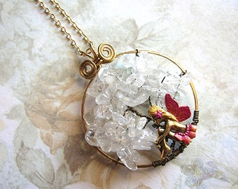 Fairy Is Sitting Underneath Clear Quartz Tree Of Life Necklace Fae Fay Faerie Realm Fantasy Mystical Magical Nature Enchanted Gemstones