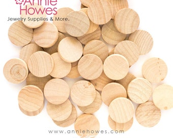 """3/4"""" Craft Wood Circles for Pendants, Magnets, Scrapbooking, and More. 25 Pack."""