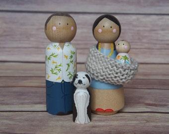 Custom Peg Doll Family of Four, Baby Wearing // personalized peg dolls // modern doll house // custom family portrait // Baby Wearing Doll