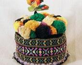 Pom Pom Pincushion from Vintage Sixties Trims- Purple