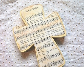 In The Garden Wood Wall Hymnal Cross MADE TO ORDER