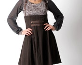 Brown suspender skirt, Brown high waisted skirt with suspenders, Dark brown steampunk skirt, sz Uk 10