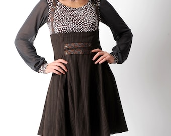 Brown suspender skirt, Brown high waisted skirt with suspenders, Dark brown steampunk skirt, sz Uk 10
