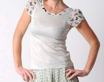 Butterfly print top, Pale green womens summer top, with sheer back in patterned jersey, size UK 10