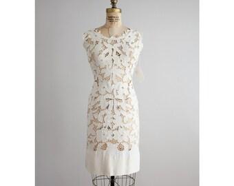 ecru irish linen dress | linen lace dress | vintage 60s dress