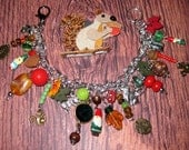 RESERVED For Laura - Gnome & Squirrel Charm Bracelet Garden Gnome Jewelry Squirrel Bracelet Woodland Forest Whimsical Jewelry OOAK