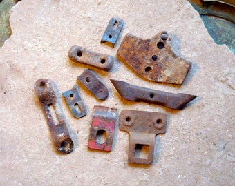 Rusty Metal Pieces with Holes Found Objects Supplies for Assemblage, Altered Art, Sculpture - Industrial Salvage