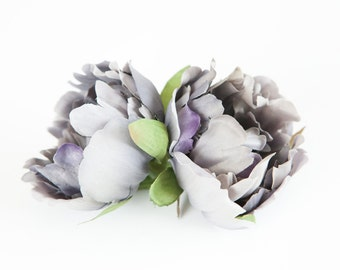 Silk Artificial Peony in Dark Silver Gray - 4 inches - silk flowres, artificial flowers - ITEM 0198