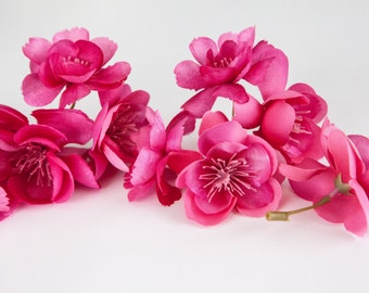 Silk Artificial Flowers - 10 Wild and Whimsy Rose Blossoms in Hot Pink - Artificial Flowers - ITEM 0310