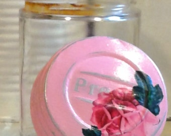 salvaged antique vintage specimen jar presto lid shabby chic cottage bright bubble gum pink rose distressed mason cap glass doctor vessel