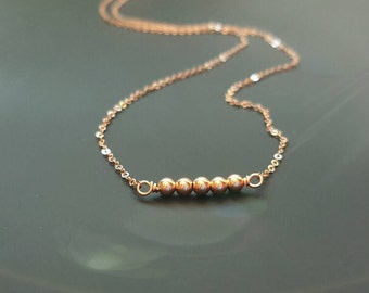 Simple, Tiny, Rose Gold filled necklace with Beads