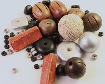 Assorted Brown, Cream, Silver, and Black Wood Beads, Mixed Shapes, Wholesale, Burlap