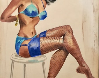 Pin-Up RARE 53 African American ORIGINAL Prelim PinUp PAINTING  for Calendar Illustration Stockings Bra Panties Garter belt Vanguard Gallery