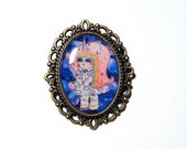 """Handmade and Illustrated Brooch - """"Rayna Unisky"""" Unicorn in Space Girl"""