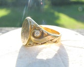 RESERVED, Art Nouveau Gold Signet Ring, Old European Cut Diamonds, Beautiful Details, Substantial, Elegant, Hand Engraved 1908, Customized