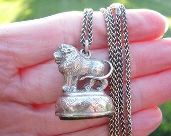 Charming Antique Silver Lion Fob Necklace, Nice Detailing, English Bloodstone Seal Fob Hallmarked 1903 - 1904, on Silver Chain, Edwardian