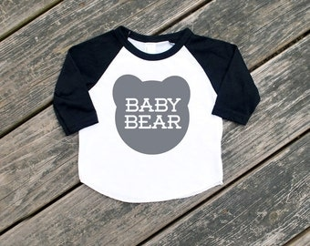 Baby Bear Black Infant Raglan Sleeve Baseball TShirt with Grey Print - Announcment, New Baby, Family Photos, Baby Shower, Little Bear