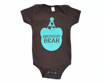 Birthday Bear Cotton One Piece in Brown with Aqua Blue print - First Birthday Baby Gift