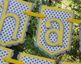 Gray and Yellow Happy Birthday Pennant Banner READY TO SHIP
