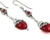 Silver Red Heart Earrings, Heart Jewelry, Crystal Heart Earrings, Drop Earrings