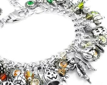 Silver Fall Jewelry - Autumn Bracelet - Silver Pumpkins - Rainbow Crystals - The Autumn Rainbow