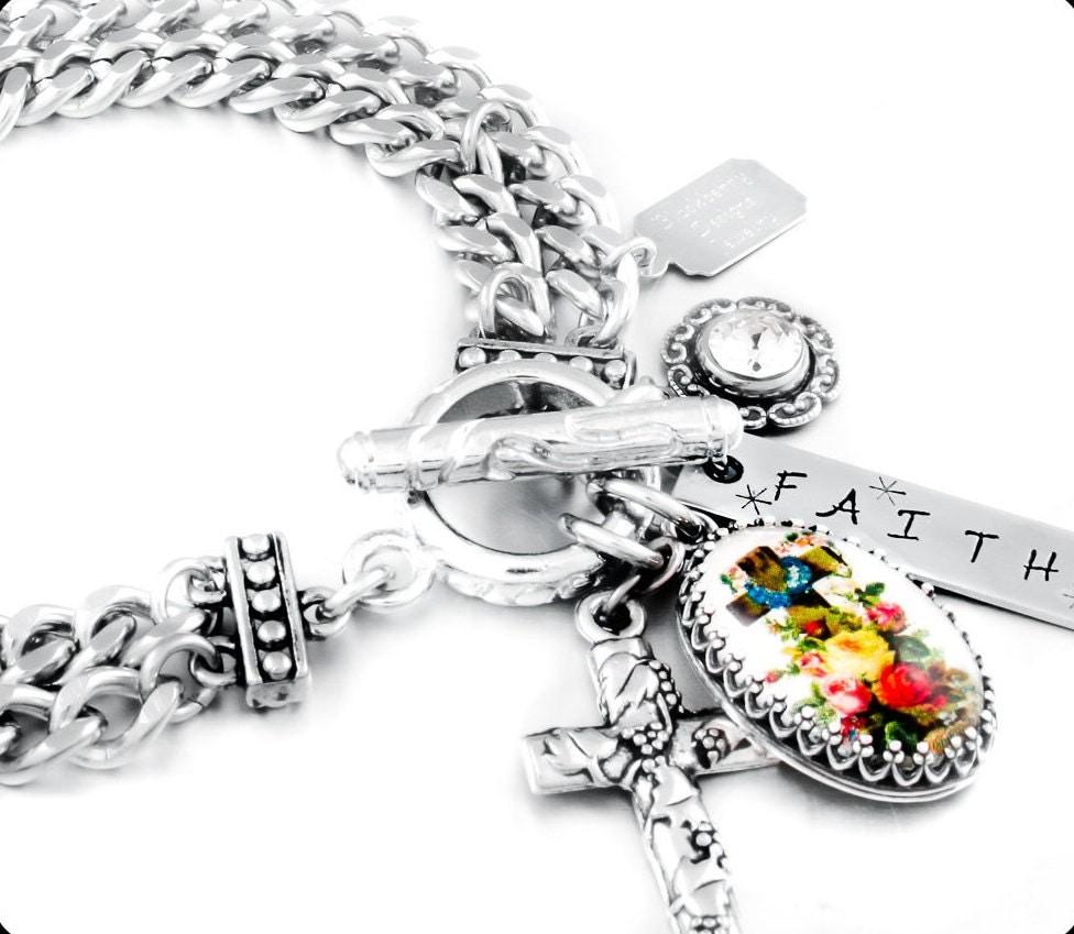 Christian Charm Bracelets: Cross Bracelet Christian Jewelry Faith By BlackberryDesigns