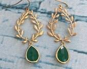 Emerald Green Wreath Chandelier Earrings