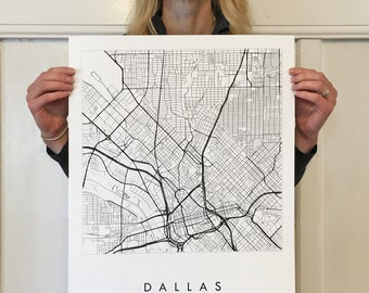 DALLAS Map Street Map TEXAS City Map Drawing Black and White (Art Print) Wedding Anniversary Gift Wall Decor