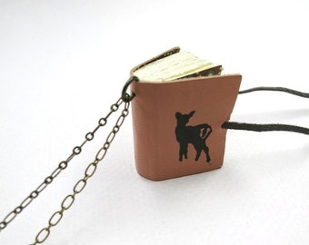 Mini diary on a chain, book pendant, necklace, tiny journal, mini leather notebook