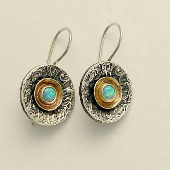 Sterling silver earrings, silver and gold earrings, blue opal earrings, gemstone earrings, mixed metal earirngs - Hold my breath E2089A