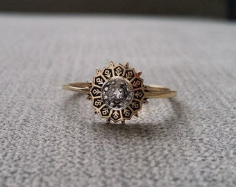 "Antique Art Deco Diamond Ring Filigree Flower Engagement Ring Two Toned Yellow White Gold Diamond Cut Illusion Aztec Bohemian ""The Janie"""