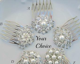 Bridesmaid hair clip, small pearl comb, Bridal hair piece, pearl and crystal, Wedding combs Bridal hair accessory