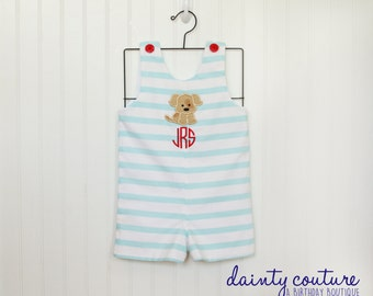 Puppy monogrammed Seersucker Shortall or Jon Jon - Aqua striped cotton shortall - free personalization