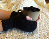 Handknitted Fingerless Gloves Wristwarmers Handwarmers - Black -  Size M/L  (womens)