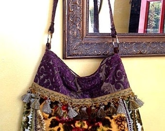 Large Boho Gypsy Floral Velvet Bag