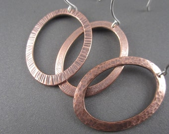Handmade Assorted Textured Copper Hoop Earrings