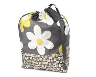 Knitting Project Bag, Flower Knitting Bag, Yarn Bag, Crochet Project Bag, Knitting Tote Bag