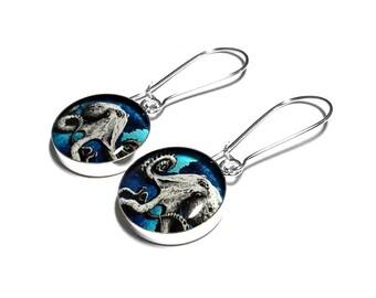 Blue Octopus Earrings, Octopus Jewelry, Tentacle Jewelry, Beach Jewelry, Dangle Earrings, Squid, Black, Blue Earrings