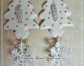 Vintage Christmas Cookie Cutter Trees Ornaments 2pc Set, Hand Painted, Collectible, Display, Gifts, ECS